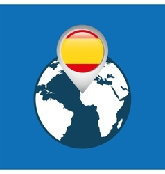 world map with pointer flag spain vector image