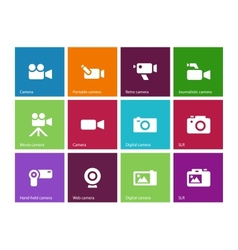 Camera icons on color background vector image
