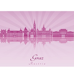 Graz skyline in purple radiant vector image vector image