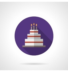 Party cake purple round flat icon vector image vector image