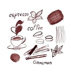 Watercolor coffee set vector image