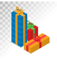 Colorful 3d gift boxes with bows and ribbons vector image vector image