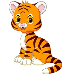 Cute baby tiger sitting isolated vector image vector image