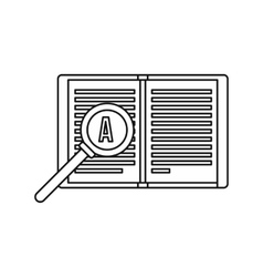 Magnifying glass over open book icon vector image vector image