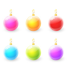 set of colorful christmas ball vector image