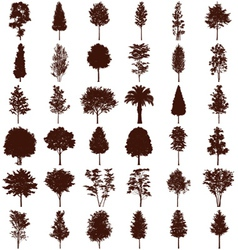 Trees silhouettes set vector image