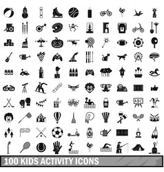100 kids activity icons set simple style vector image