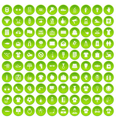 100 t-shirt icons set green circle vector