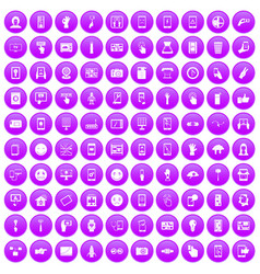 100 touch screen icons set purple vector