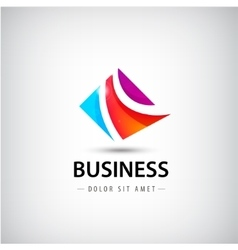 abstract business logo 3 parts unity icon vector image