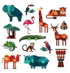 Africa and savanna animals set vector