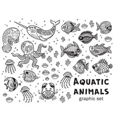 Aquatic animals graphic set vector