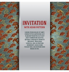 Asian invitation card with dragons and waves vector
