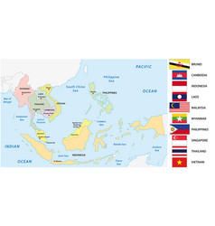 association southeast asian nations asean map vector image