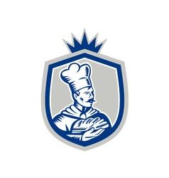 Baker Holding Bread Loaf Woodcut Crest vector image