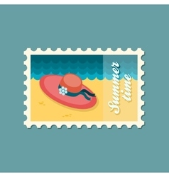 Beach hat flat stamp summertime vector image