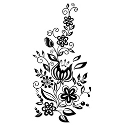 black-and-white flowers and leaves vector image