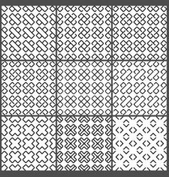 black crosses seamless pattern set vector image