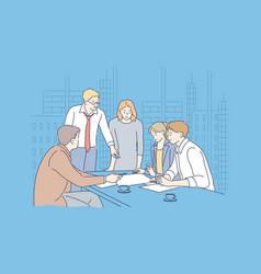 business meeting coworking teamwork analysis vector image