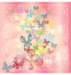 Butterfly set isolated on rose background vector image