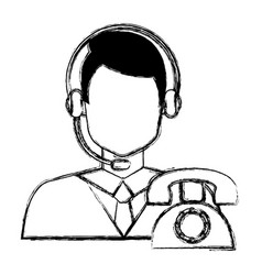 Call center agent with headset and telephone vector