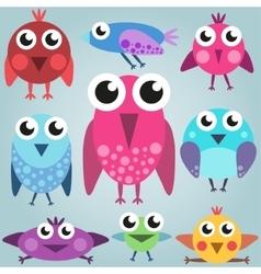 Cartoon bright bird set funny comic birds simple vector image vector image