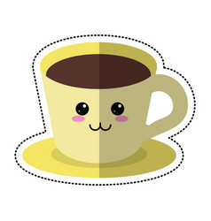 Cartoon coffee cup plate vector
