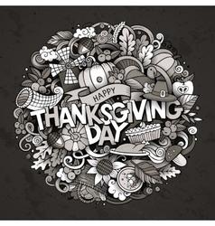 Cartoon cute doodles hand drawn Thanksgiving vector