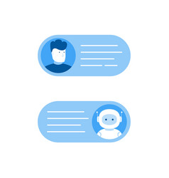 Chatbot concept man chatting with chat bot vector