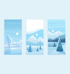 christmas landscape greeting card set vector image