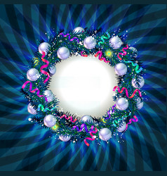 christmas wreath banner vector image