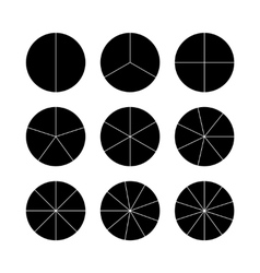 Circle segments set Black flat color vector