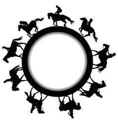 circular frame with silhouettes of horse riders vector image