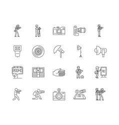 Commercial photography line icons signs vector