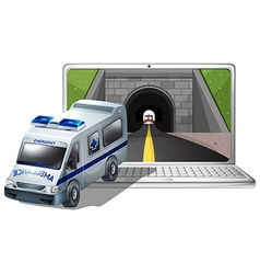 Computer screen with ambulance and tunnel vector image