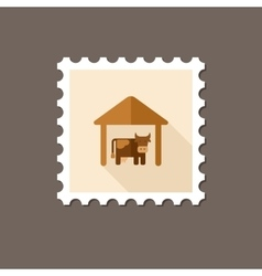 Cowshed flat stamp with long shadow vector