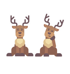 cute deer sitting down christmas character icon vector image