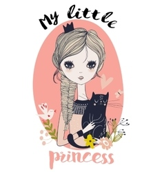 Cute little princess with black cat vector