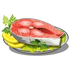 Delicious steak of red fish with salad and lemon vector