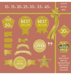 Design Element Gold labels on best seller set vector image