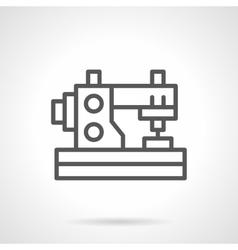 Domestic sewing machine black line icon vector image