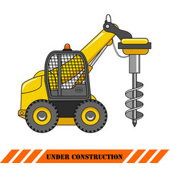 Drilling equipment heavy construction machines vector