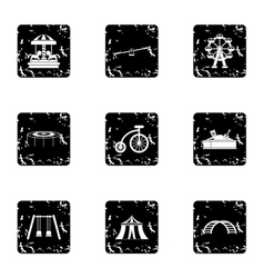 Entertainment for children icons set grunge style vector