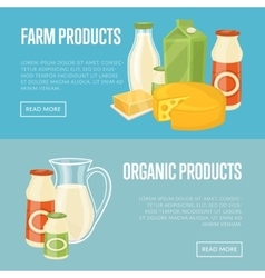 Farm and organic products website templates vector