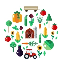 Farm with tractor vegetables barn trees vector image