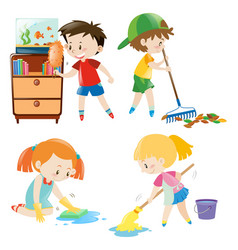 Four kids doing different chores at home vector
