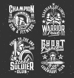 gladiator warriors with sword tshirt prints set vector image