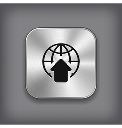 Global icon - metal app button vector image