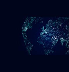Globe international network sci-fi world map vector