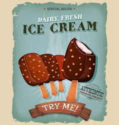 Grunge and vintage ice cream on wood stick poster vector